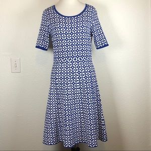 Talbots royal blue white geometric dress MP